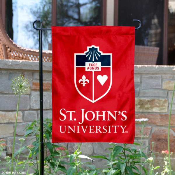 St. John's Wordmark Logo Garden Flag is 13x18 inches in size, is made of 2-layer polyester, screen printed St. John's University athletic logos and lettering. Available with Same Day Express Shipping, Our St. John's Wordmark Logo Garden Flag is officially licensed and approved by St. John's University and the NCAA.