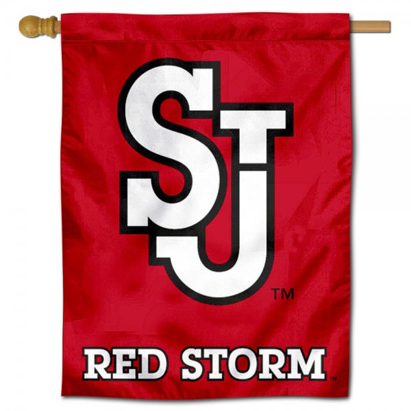 "St. Johns University House Flag is constructed of polyester material, is a vertical house flag, measures 30""x40"", offers screen printed athletic insignias, and has a top pole sleeve to hang vertically. Our St. Johns University House Flag is Officially Licensed by St. Johns University and NCAA."