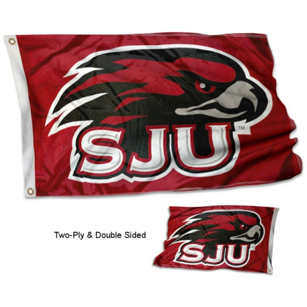 St. Joseph's SJU Double Sided 3x5 Flag measures 3'x5', is made of 2 layer 100% polyester, has quadruple stitched flyends for durability, and is readable correctly on both sides. Our St. Joseph's SJU Double Sided 3x5 Flag is officially licensed by the university, school, and the NCAA.