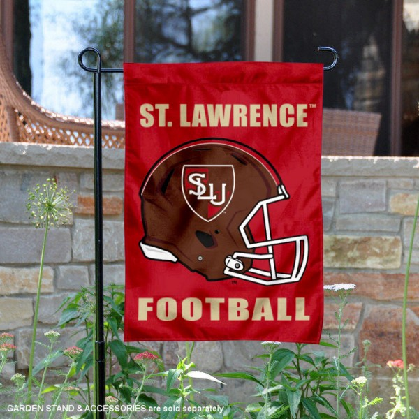 St. Lawrence University Football Helmet Garden Banner is 13x18 inches in size, is made of 2-layer polyester, screen printed St. Lawrence University athletic logos and lettering. Available with Same Day Express Shipping, Our St. Lawrence University Football Helmet Garden Banner is officially licensed and approved by St. Lawrence University and the NCAA.