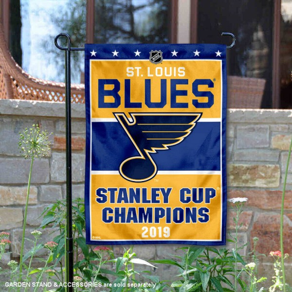 St. Louis Blues 2019 Stanley Cup Champions Garden Flag is 12.5x18 inches in size, is made of 2-ply polyester, and has two sided screen printed logos and lettering. Available with Express Next Day Ship, our St. Louis Blues 2019 Stanley Cup Champions Garden Flag is NHL Officially Licensed and is double sided.