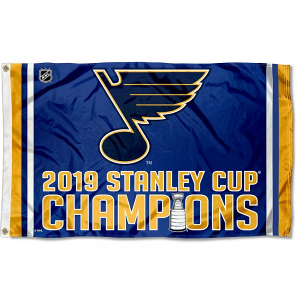 St. Louis Blues 2019 Stanley Cup Champions Flag measures 3x5 feet, is made of polyester, offers quad-stitched flyends, has two metal grommets, and is viewable from both sides with a reverse image on the opposite side. Our St. Louis Blues Flag is Genuine NHL Merchandise.
