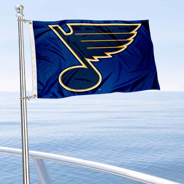 "Our St. Louis Blues Boat and Nautical Flag is 12""x18"", made of three-ply poly, has a solid header with two metal grommets, and is double sided. This Boat and Nautical Flag for St. Louis Blues is Officially Licensed by the NHL and can also be used as a motorcycle flag, boat flag, golf cart flag, or recreational flag."