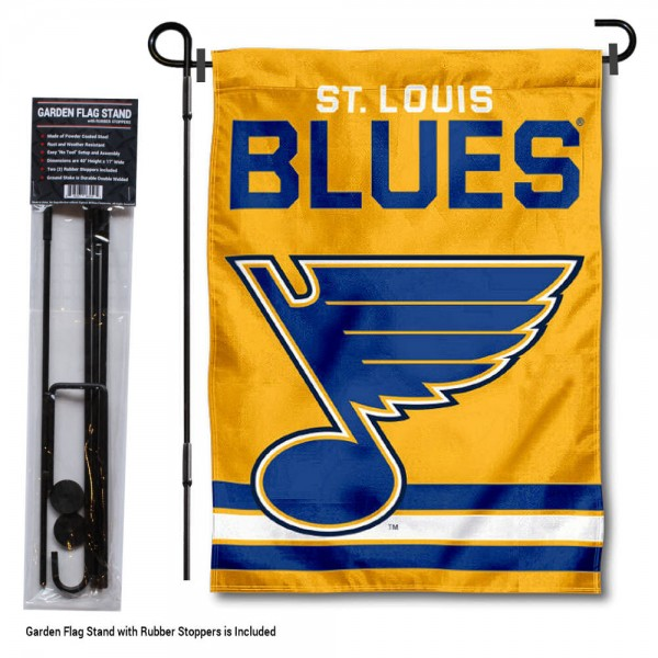 "St. Louis Blues Gold Garden Banner and Flagpole Holder Stand kit includes our 12.5""x18"" garden banner which is made of 2 ply poly with liner and has screen printed licensed logos. Also, a 40""x17"" inch garden flag stand is included so your St. Louis Blues Gold Garden Banner and Flagpole Holder Stand is ready to be displayed with no tools needed for setup. Fast Overnight Shipping is offered and the flag is Officially Licensed and Approved by the selected team."