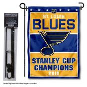 St. Louis Blues Stanley Cup Champions Garden Banner and Flagpole Holder Stand