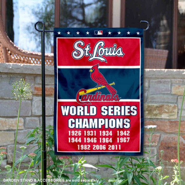 St. Louis Cardinals 11-Time World Series Champions Garden Flag is 12.5x18 inches in size, is made of 2-ply polyester, and has two sided screen printed logos and lettering. Available with Express Next Day Shipping, our St. Louis Cardinals 11-Time World Series Champions Garden Flag is MLB Genuine Merchandise and is double sided.