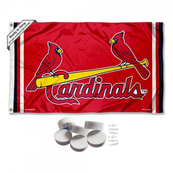Our St. Louis Cardinals Banner Flag with Tack Wall Pads is double sided, made of poly, 3'x5', has two metal grommets, indoor or outdoor, and four-stitched fly ends. These St. Louis Cardinals Banner Flag with Tack Wall Padss are Officially Approved by the Boston Bruins. Tapestry Wall Hanging Tack Pads which include a 6 pack of banner display pads with 6 tacks allowing you to hang your pennant on any wall damage-free.