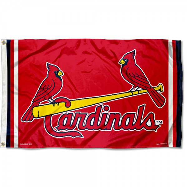Our St. Louis Cardinals Birds Flag is double sided, made of poly, 3'x5', has two grommets, and four-stitched fly ends. These St. Louis Cardinals Birds Flags are Officially Licensed by the MLB.