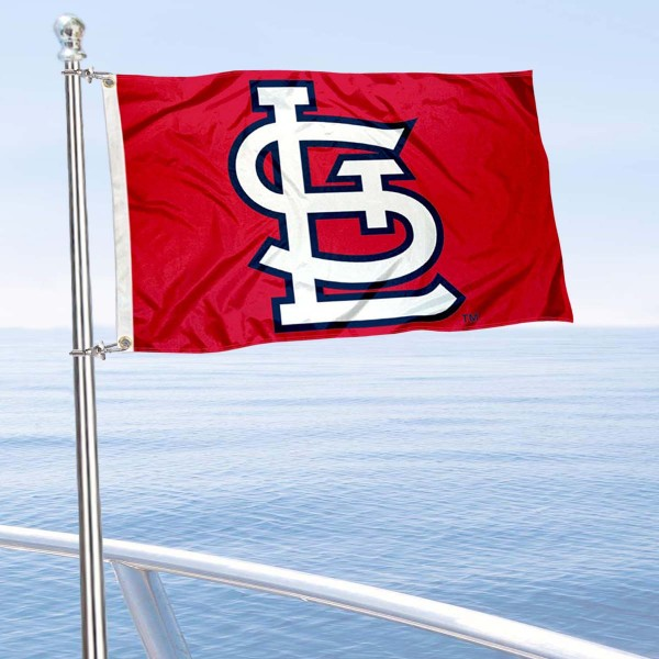 "Our St. Louis Cardinals Boat and Nautical Flag is 12""x18"", made of three-ply poly, has a solid header with two metal grommets, and is double sided. This Boat and Nautical Flag for St. Louis Cardinals is Officially Licensed by the MLB and can also be used as a motorcycle flag, boat flag, golf cart flag, or recreational flag."