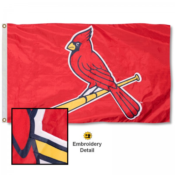 This St. Louis Cardinals Embroidered Nylon Flag is double sided, made of nylon, 3'x5', has two metal grommets, indoor or outdoor, and four-stitched fly ends. These St. Louis Cardinals Embroidered Nylon Flags are Officially Approved the St. Louis Cardinals and MLB.