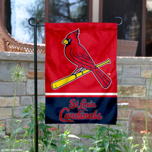 St. Louis Cardinals Garden Flag is 12.5x18 inches in size, is made of 2-ply polyester, and has two sided screen printed logos and lettering. Available with Express Next Day Shipping, our St. Louis Cardinals Garden Flag is MLB Genuine Merchandise and is double sided.