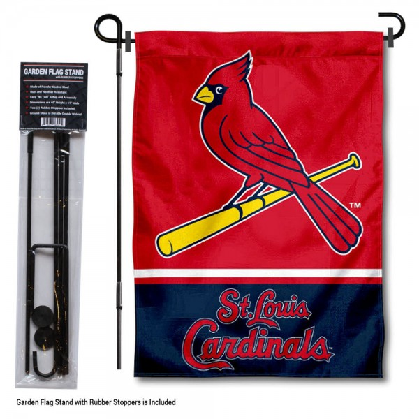 "St. Louis Cardinals Logo Garden Flag and Stand kit includes our 13""x18"" garden banner which is made of 2 ply poly with liner and has screen printed licensed logos. Also, a 40""x17"" inch garden flag stand is included so your St. Louis Cardinals Logo Garden Flag and Stand is ready to be displayed with no tools needed for setup. Fast Overnight Shipping is offered and the flag is Officially Licensed and Approved by the selected team."