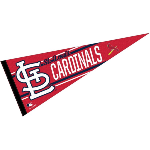 This St. Louis Cardinals Pennant measures 12x30 inches, is constructed of felt, and is single sided screen printed with the St. Louis Cardinals logo and insignia. Each St. Louis Cardinals Pennant is a MLB Genuine Merchandise product.