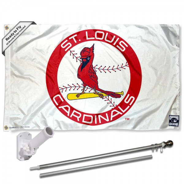 Our St. Louis Cardinals Vintage Flag Pole and Bracket Kit includes the flag as shown and the recommended flagpole and flag bracket. The flag is made of polyester, has quad-stitched flyends, and the MLB Licensed team logos are double sided screen printed. The flagpole and bracket are made of rust proof aluminum and includes all hardware so this kit is ready to install and fly.