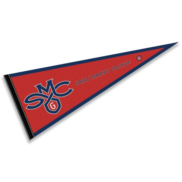 St. Mary's College Wordmark Pennant consists of our full size sports pennant which measures 12x30 inches, is constructed of felt, is single sided imprinted, and offers a pennant sleeve for insertion of a pennant stick, if desired. This St. Mary's College Wordmark Pennant Decorations is Officially Licensed by the selected university and the NCAA.