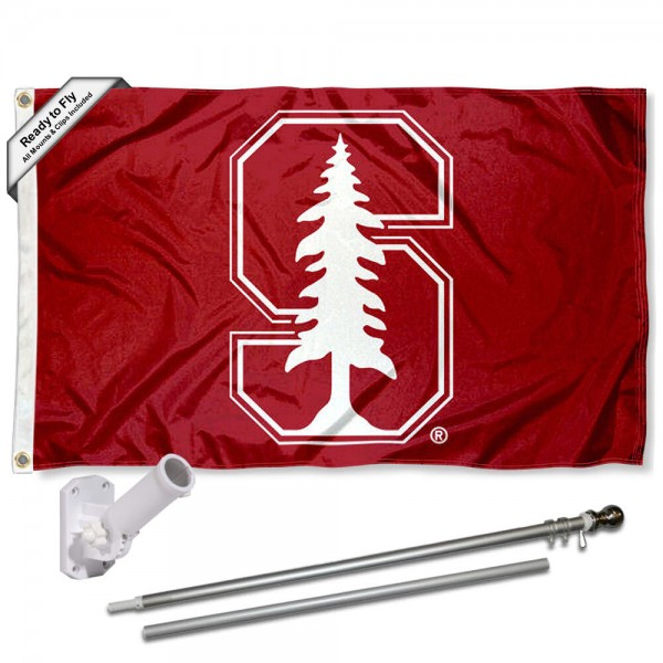 Our Stanford Cardinal Flag Pole and Bracket Kit includes the flag as shown and the recommended flagpole and flag bracket. The flag is made of polyester, has quad-stitched flyends, and the NCAA Licensed team logos are double sided screen printed. The flagpole and bracket are made of rust proof aluminum and includes all hardware so this kit is ready to install and fly.