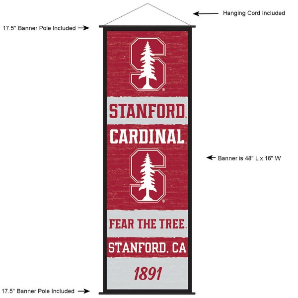 """This """"ready to hang"""" Stanford University Decor and Banner is made of polyester material, measures a large 17.5"""" x 48"""", offers screen printed athletic logos, and includes both top and bottom 3/4"""" diameter plastic banner poles and hanging cord. Our Stanford University D�cor and Banner is Officially Licensed by the selected college and NCAA."""