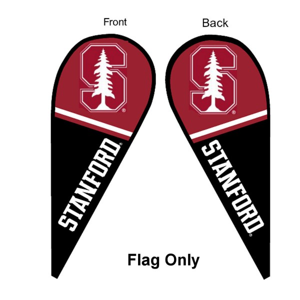 Stanford University Feather Flag is 9 feet by 3 feet and is a tall 10' when fully assembled. The feather flag is made of thick polyester and is readable and viewable on both sides. The screen printed Stanford Cardinal double sided logos are NCAA Officially Licensed and is Team and University approved.