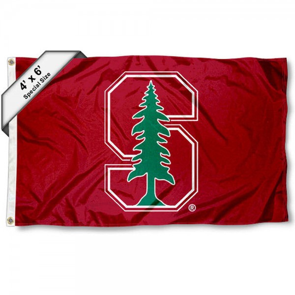Stanford University Large 4x6 Flag measures 4x6 feet, is made thick woven polyester, has quadruple stitched flyends, two metal grommets, and offers screen printed NCAA Stanford University Large athletic logos and insignias. Our Stanford University Large 4x6 Flag is officially licensed by Stanford University and the NCAA.