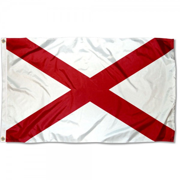 State of Alabama Flag measures 3'x5', is made of 100% poly, has quadruple stitched sewing, two metal grommets, and has double sided State of Alabama logos.