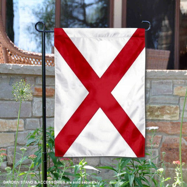 State of Alabama Garden Flag is 13x18 inches in size, is made of thick 1-layer polyester, screen printed logos and lettering, and is viewable on both sides. Available same day shipping, our State of Alabama Garden Flag is a great addition to your decorative garden flag selections.