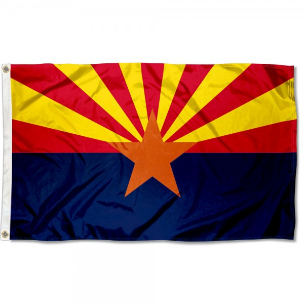State of Arizona Flag measures 3'x5', is made of 100% poly, has quadruple stitched sewing, two metal grommets, and has double sided State of Arizona logos.
