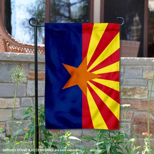 State of Arizona Garden Flag is 13x18 inches in size, is made of thick 1-layer polyester, screen printed logos and lettering, and is viewable on both sides. Available same day shipping, our State of Arizona Garden Flag is a great addition to your decorative garden flag selections.