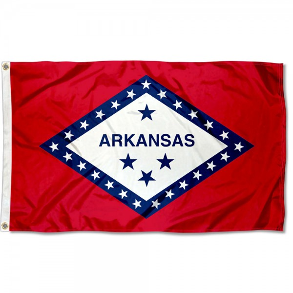 State of Arkansas Flag measures 3'x5', is made of 100% poly, has quadruple stitched sewing, two metal grommets, and has double sided State of Arkansas logos.