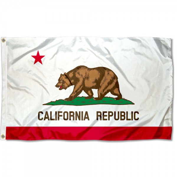 State of California Flag measures 3'x5', is made of 100% poly, has quadruple stitched sewing, two metal grommets, and has double sided State of California logos.