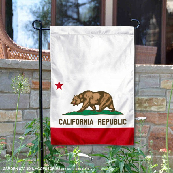 State of California Garden Flag is 13x18 inches in size, is made of thick 1-layer polyester, screen printed logos and lettering, and is viewable on both sides. Available same day shipping, our State of California Garden Flag is a great addition to your decorative garden flag selections.