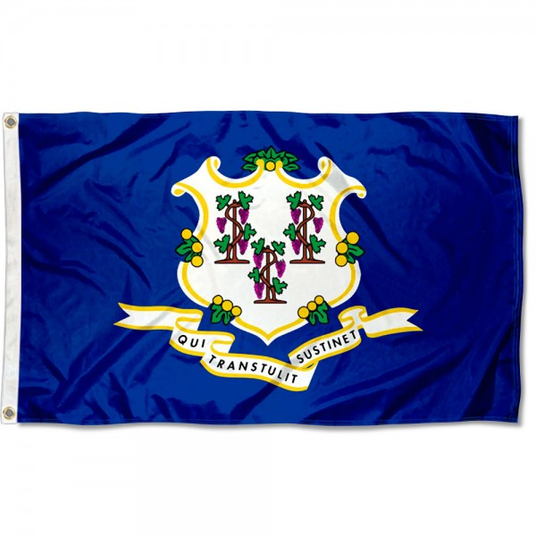State of Connecticut Flag measures 3'x5', is made of 100% poly, has quadruple stitched sewing, two metal grommets, and has double sided State of Connecticut logos.