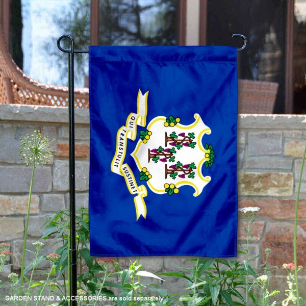 State of Connecticut Garden Flag is 13x18 inches in size, is made of thick 1-layer polyester, screen printed logos and lettering, and is viewable on both sides. Available same day shipping, our State of Connecticut Garden Flag is a great addition to your decorative garden flag selections.