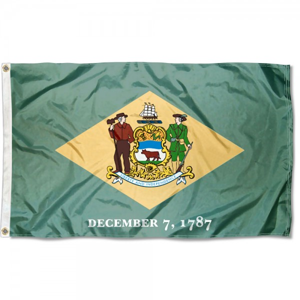 State of Delaware Flag measures 3'x5', is made of 100% poly, has quadruple stitched sewing, two metal grommets, and has double sided State of Delaware logos.