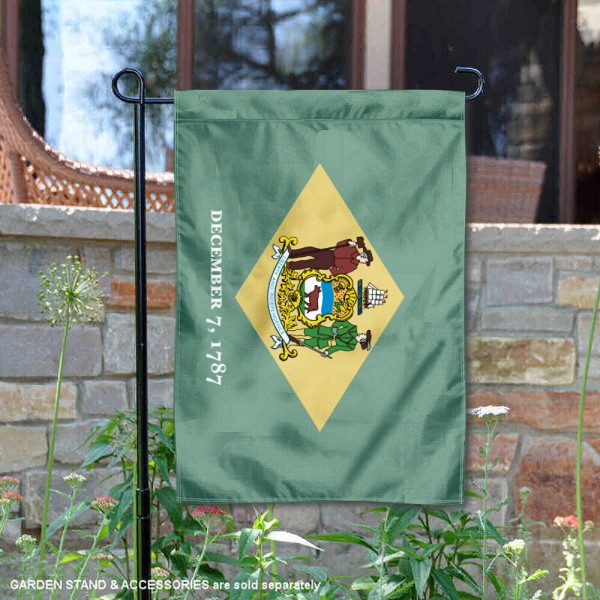 State of Delaware Garden Flag is 13x18 inches in size, is made of thick 1-layer polyester, screen printed logos and lettering, and is viewable on both sides. Available same day shipping, our State of Delaware Garden Flag is a great addition to your decorative garden flag selections.