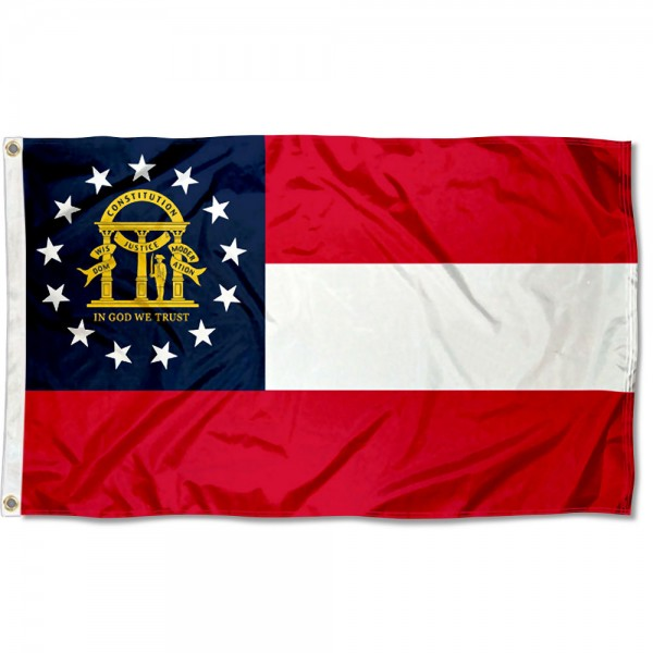 State of Georgia Flag measures 3'x5', is made of 100% poly, has quadruple stitched sewing, two metal grommets, and has double sided State of Georgia logos.
