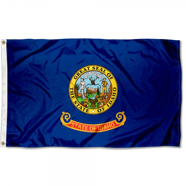 State of Idaho Flag measures 3'x5', is made of 100% poly, has quadruple stitched sewing, two metal grommets, and has double sided State of Idaho logos.