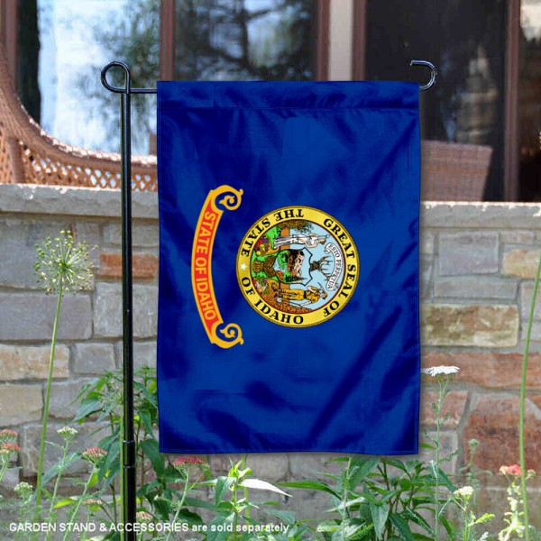 State of Idaho Garden Flag is 13x18 inches in size, is made of thick 1-layer polyester, screen printed logos and lettering, and is viewable on both sides. Available same day shipping, our State of Idaho Garden Flag is a great addition to your decorative garden flag selections.