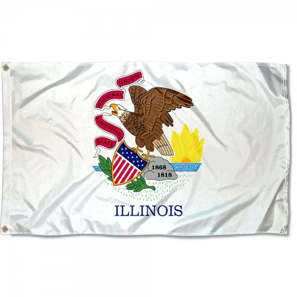 State of Illinois Flag measures 3'x5', is made of 100% poly, has quadruple stitched sewing, two metal grommets, and has double sided State of Illinois logos.