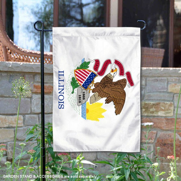 State of Illinois Garden Flag is 13x18 inches in size, is made of thick 1-layer polyester, screen printed logos and lettering, and is viewable on both sides. Available same day shipping, our State of Illinois Garden Flag is a great addition to your decorative garden flag selections.