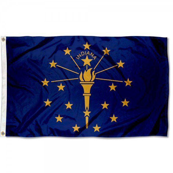 State of Indiana Flag measures 3'x5', is made of 100% poly, has quadruple stitched sewing, two metal grommets, and has double sided State of Indiana logos.