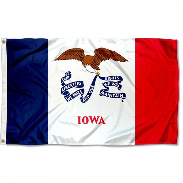 State of Iowa Flag measures 3'x5', is made of 100% poly, has quadruple stitched sewing, two metal grommets, and has double sided State of Iowa logos.