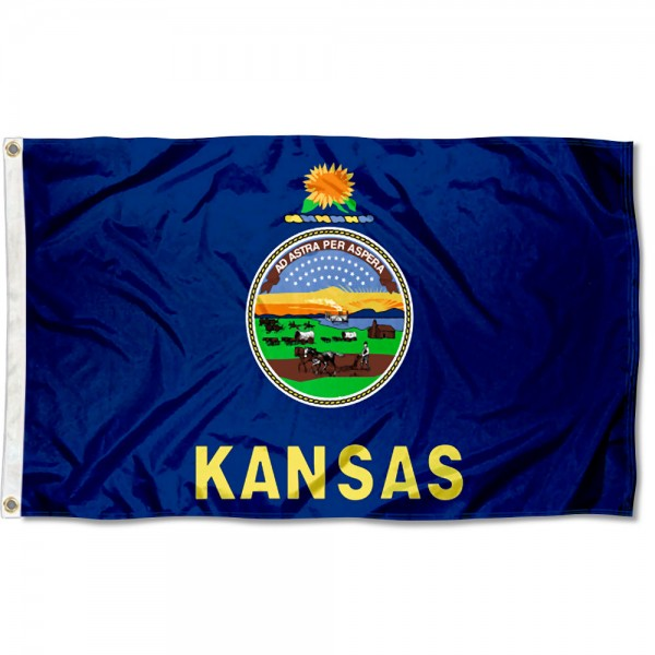State of Kansas Flag measures 3'x5', is made of 100% poly, has quadruple stitched sewing, two metal grommets, and has double sided State of Kansas logos.