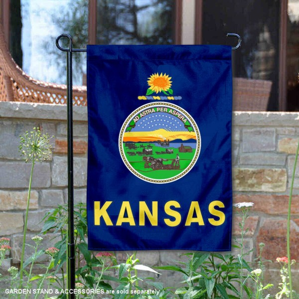 State of Kansas Garden Flag is 13x18 inches in size, is made of thick 1-layer polyester, screen printed logos and lettering, and is viewable on both sides. Available same day shipping, our State of Kansas Garden Flag is a great addition to your decorative garden flag selections.