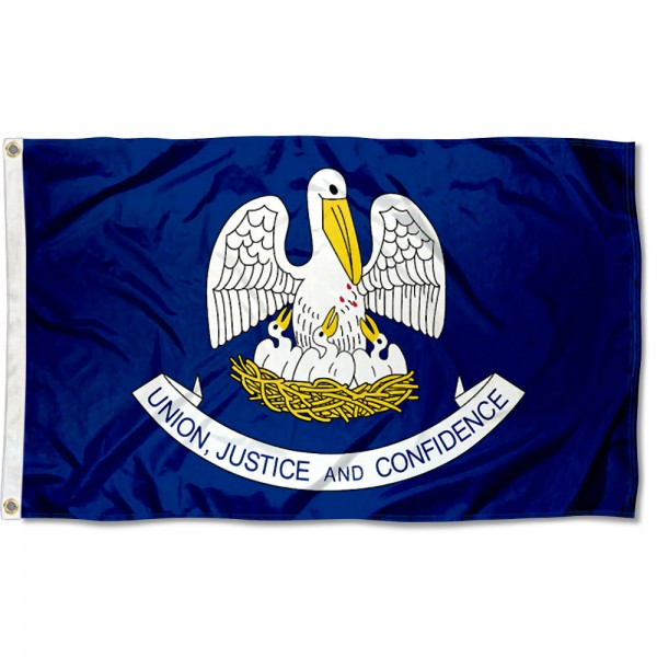 State of Louisiana Flag measures 3'x5', is made of 100% poly, has quadruple stitched sewing, two metal grommets, and has double sided State of Louisiana logos.