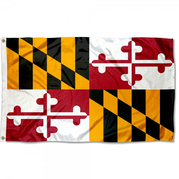 State of Maryland Flag measures 3'x5', is made of 100% poly, has quadruple stitched sewing, two metal grommets, and has double sided State of Maryland logos.