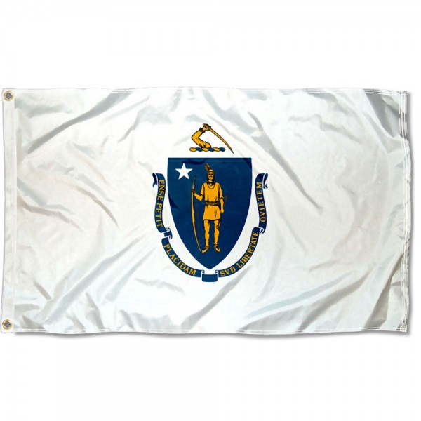 State of Massachusetts Flag measures 3'x5', is made of 100% poly, has quadruple stitched sewing, two metal grommets, and has double sided State of Massachusetts logos.