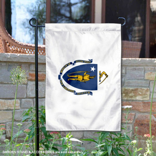 State of Massachusetts Garden Flag is 13x18 inches in size, is made of thick 1-layer polyester, screen printed logos and lettering, and is viewable on both sides. Available same day shipping, our State of Massachusetts Garden Flag is a great addition to your decorative garden flag selections.