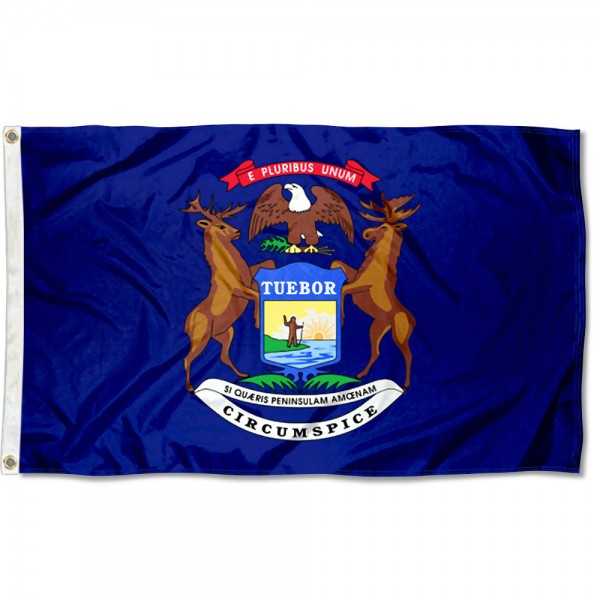 State of Michigan Flag measures 3'x5', is made of 100% poly, has quadruple stitched sewing, two metal grommets, and has double sided State of Michigan logos.