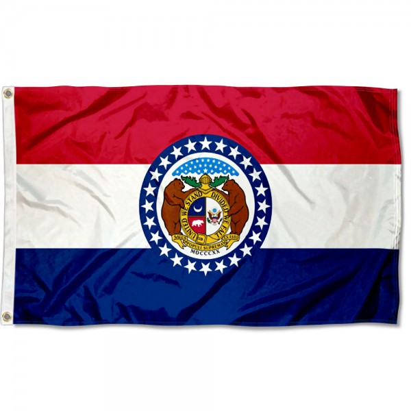 State of Missouri Flag measures 3'x5', is made of 100% poly, has quadruple stitched sewing, two metal grommets, and has double sided State of Missouri logos.