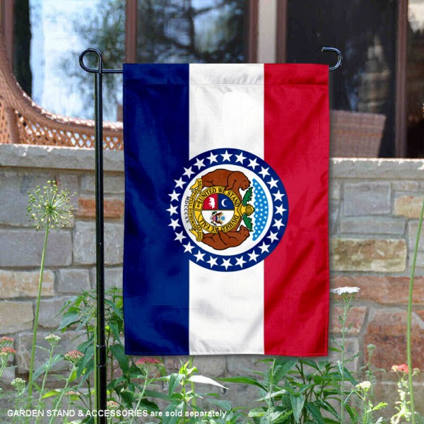 State of Missouri Garden Flag is 13x18 inches in size, is made of thick 1-layer polyester, screen printed logos and lettering, and is viewable on both sides. Available same day shipping, our State of Missouri Garden Flag is a great addition to your decorative garden flag selections.